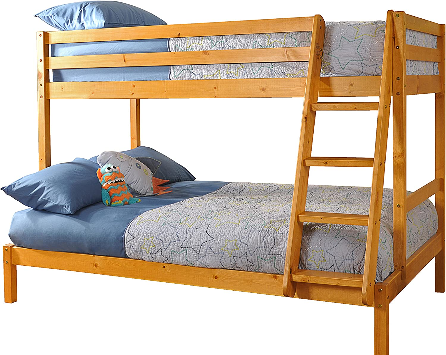 Triple Wooden Pine Bunk Bed 3ft 4ft In Caramel Finish With 2 Mattresses Amazon Co Uk Kitchen Home