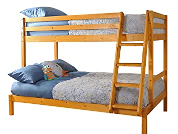 Triple Wooden Pine Bunk Bed 3ft 4ft In Caramel Finish With 2