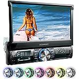 """XOMAX XM-VRSU742BT Autoradio / Moniceiver avec fonction sans fil Bluetooth + Ecran tactile 7""""/18 cm + Port USB (jusqu'à 128 GB!) e fente pour cartes SD (jusqu'à 128 GB!) pour fichiers MP3, WMA, AVI, MPEG4, etc. + 7 couleurs d'éclairage : bleu, rouge, jaune, lilas, vert, blanc, turquoise + Entrée AUX + Dimensions standard simple DIN (DIN1) + Tiroir métallique et cadre inclus"""
