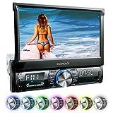 XOMAX XM-VRSU742BT radio para coche/coche + Monitor motorizado + 18 cm/7'' pantalla táctil de alta definición HD + de vídeo y Audio: MP3 incl ID3 TAG, WMA, MPEG4, AVI, DIVX etc, + Bluetooth manos libres y reproducción de música via A2DP + 7 colores de iluminación ajustable + Conexión USB hasta 128 GB! + ranura para tarjetas SD de hasta 128 GB! + cámara de conexión + conexión para Subwoofer + Single DIN (1 DIN) Tamaño de instalación estándar + con mando a distancia y marco