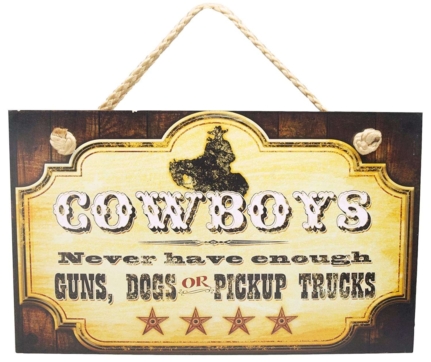 Amazon.com: New FUNNY COWBOY SIGN Dogs Pickup Trucks Guns WESTERN ...