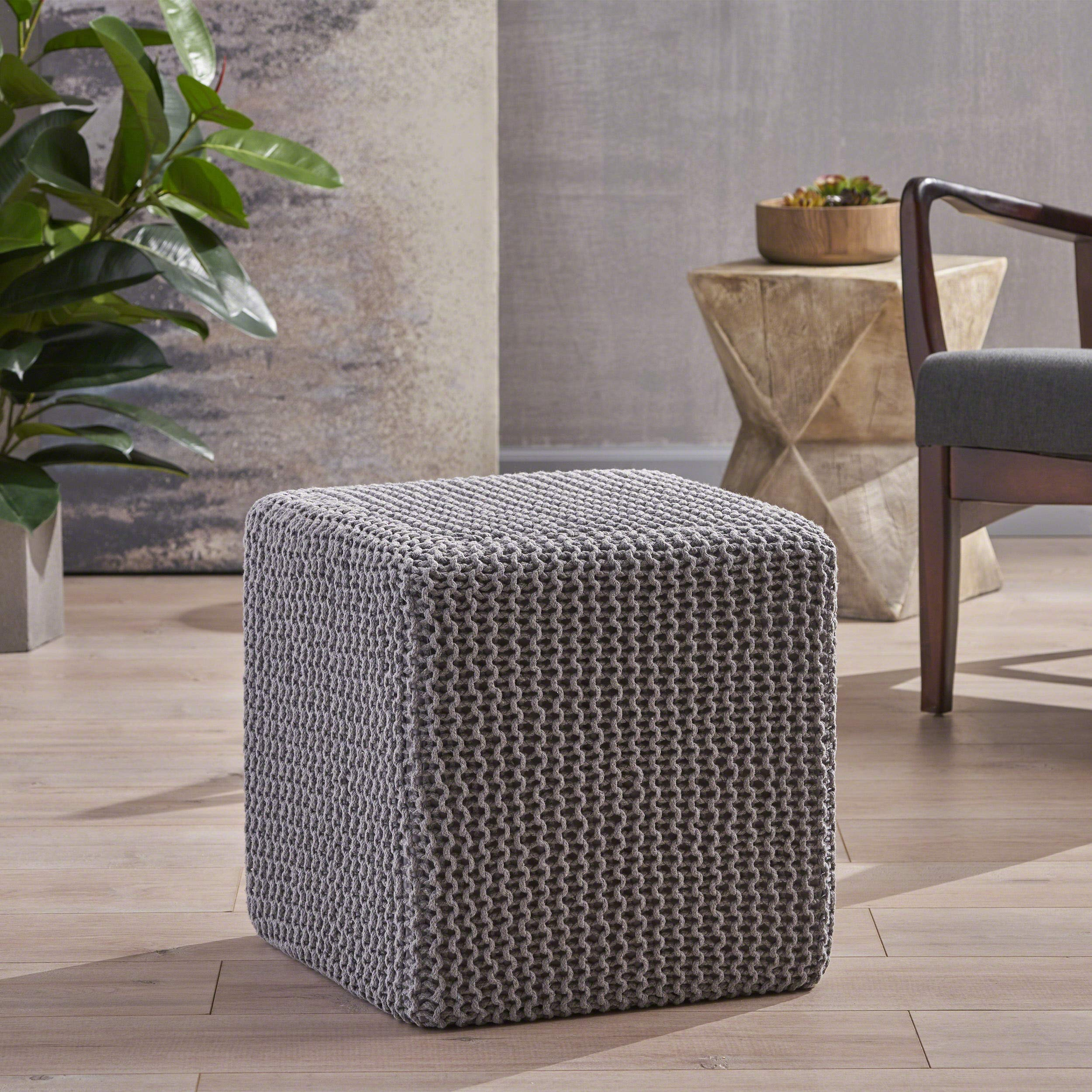 Christopher Knight Home Scott Knitted Foot Stool, Light Gray by Christopher Knight Home