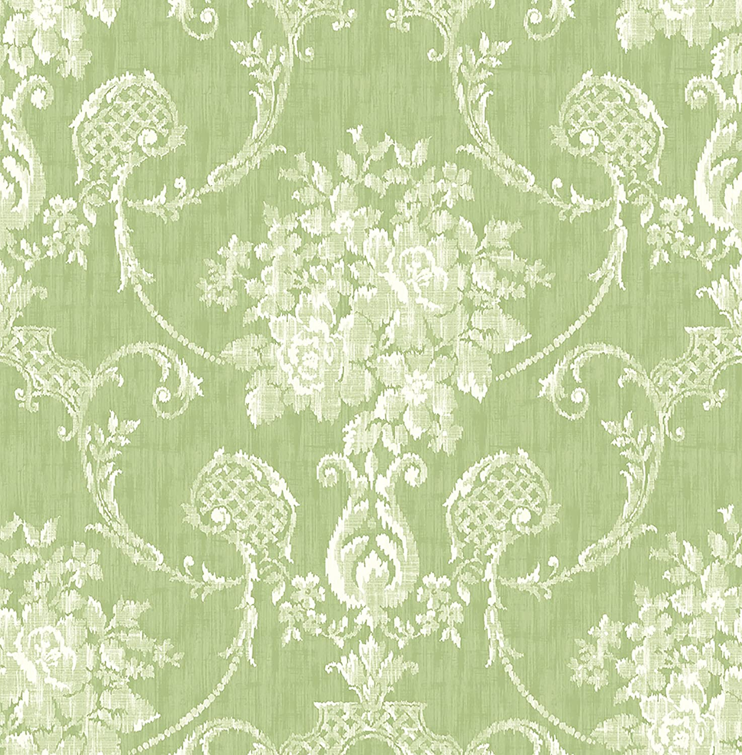 A Street Prints 2702 22747 Winsome Green Floral Damask Wallpaper