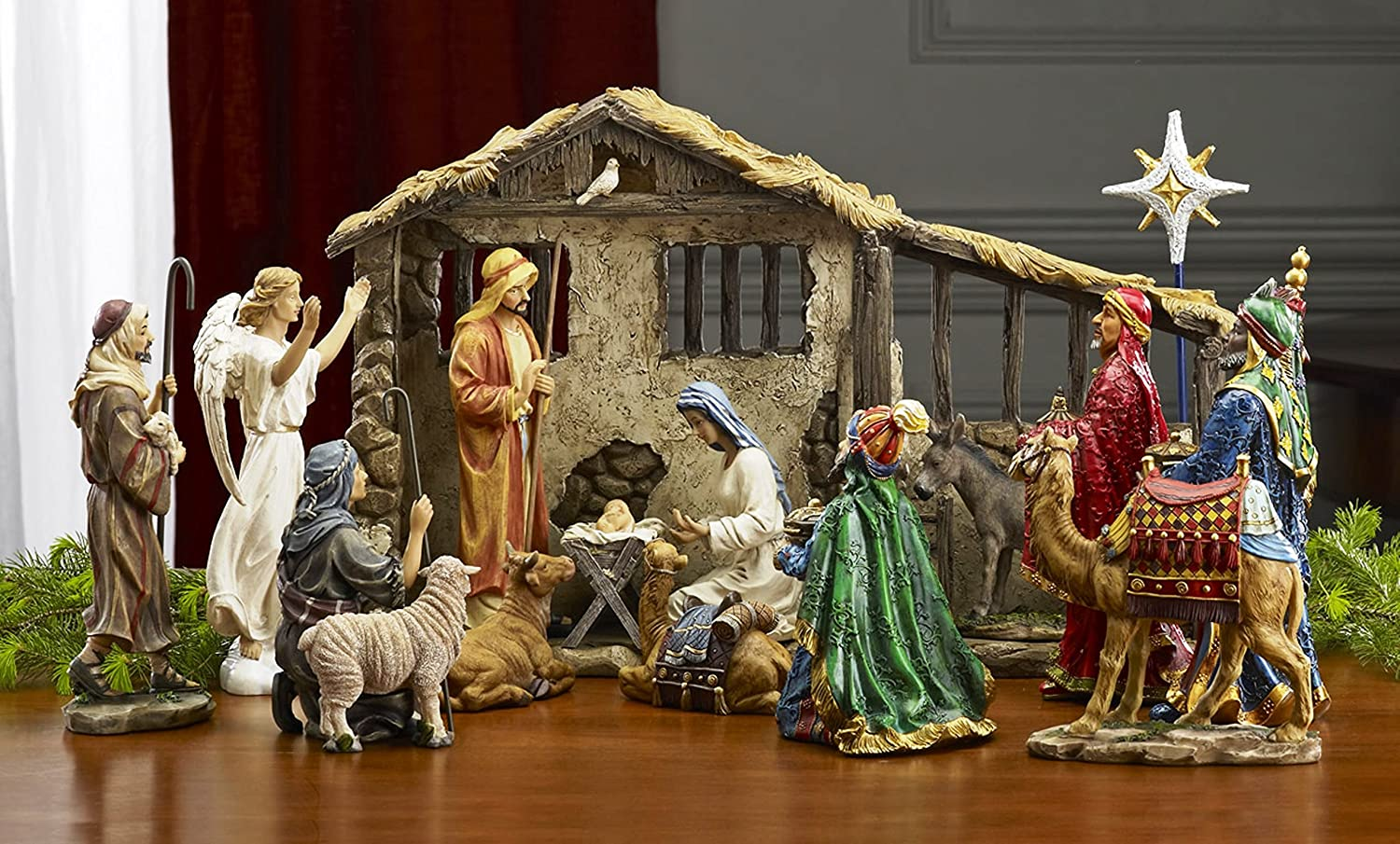 Amazoncom Deluxe Edition 16 Piece 10 Inch Christmas Nativity Set
