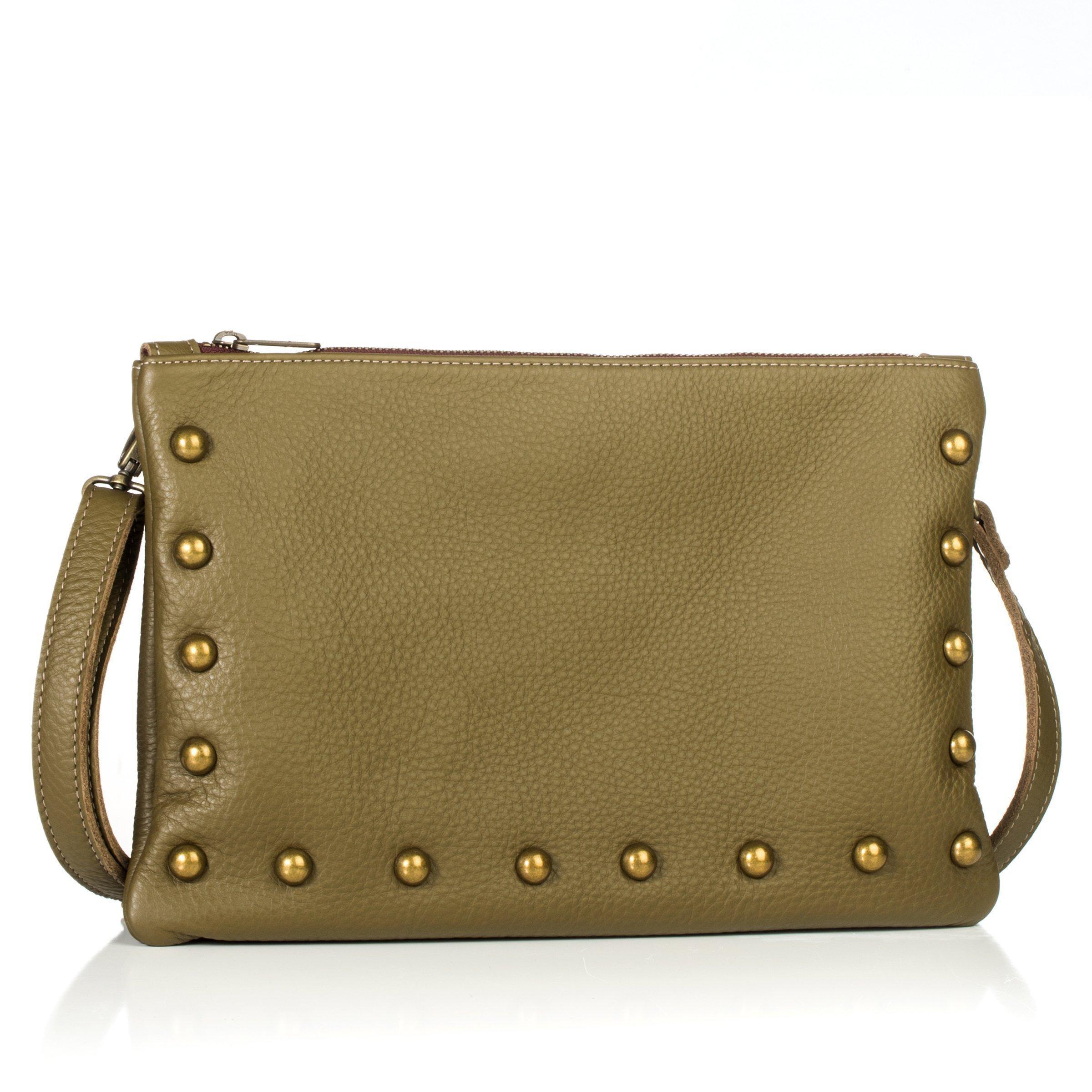 Nikki Medium Sized Crossbody/Clutch in Olive Green Italian Leather