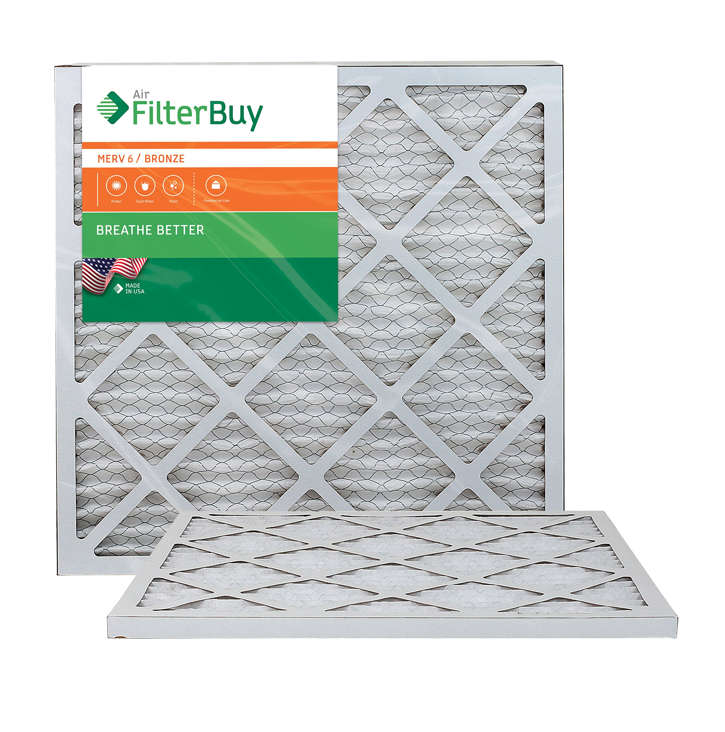AFB Bronze MERV 6 21x22x1 Pleated AC Furnace Air Filter. Pack of 2 Filters. 100% produced in the USA.