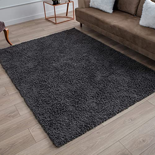 Perla Furniture Gray Shag Dark Grey Shaggy Area Rugs 5X7