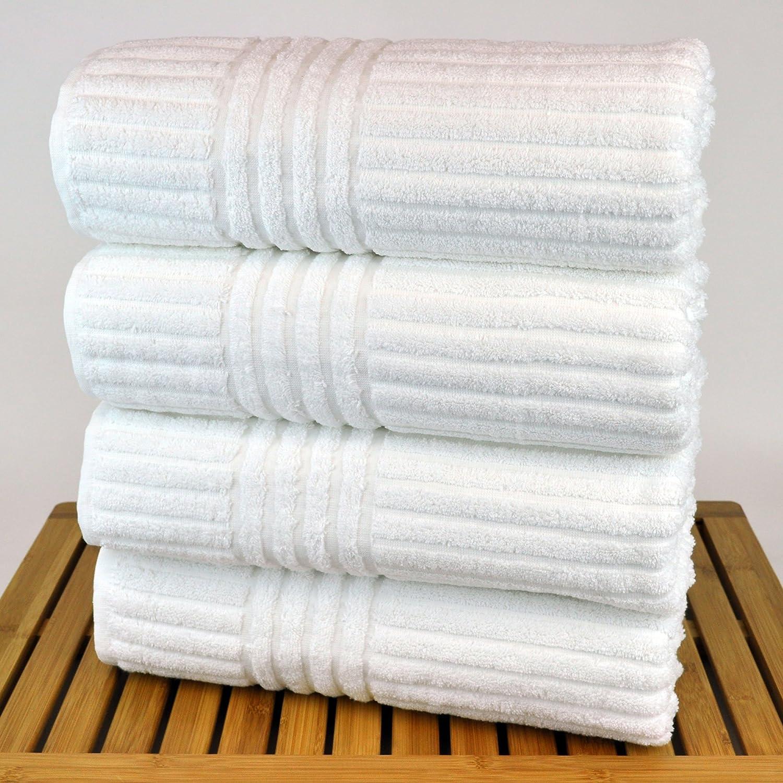 Amazon com bare cotton luxury hotel and spa bath towels striped white set of 4 home kitchen