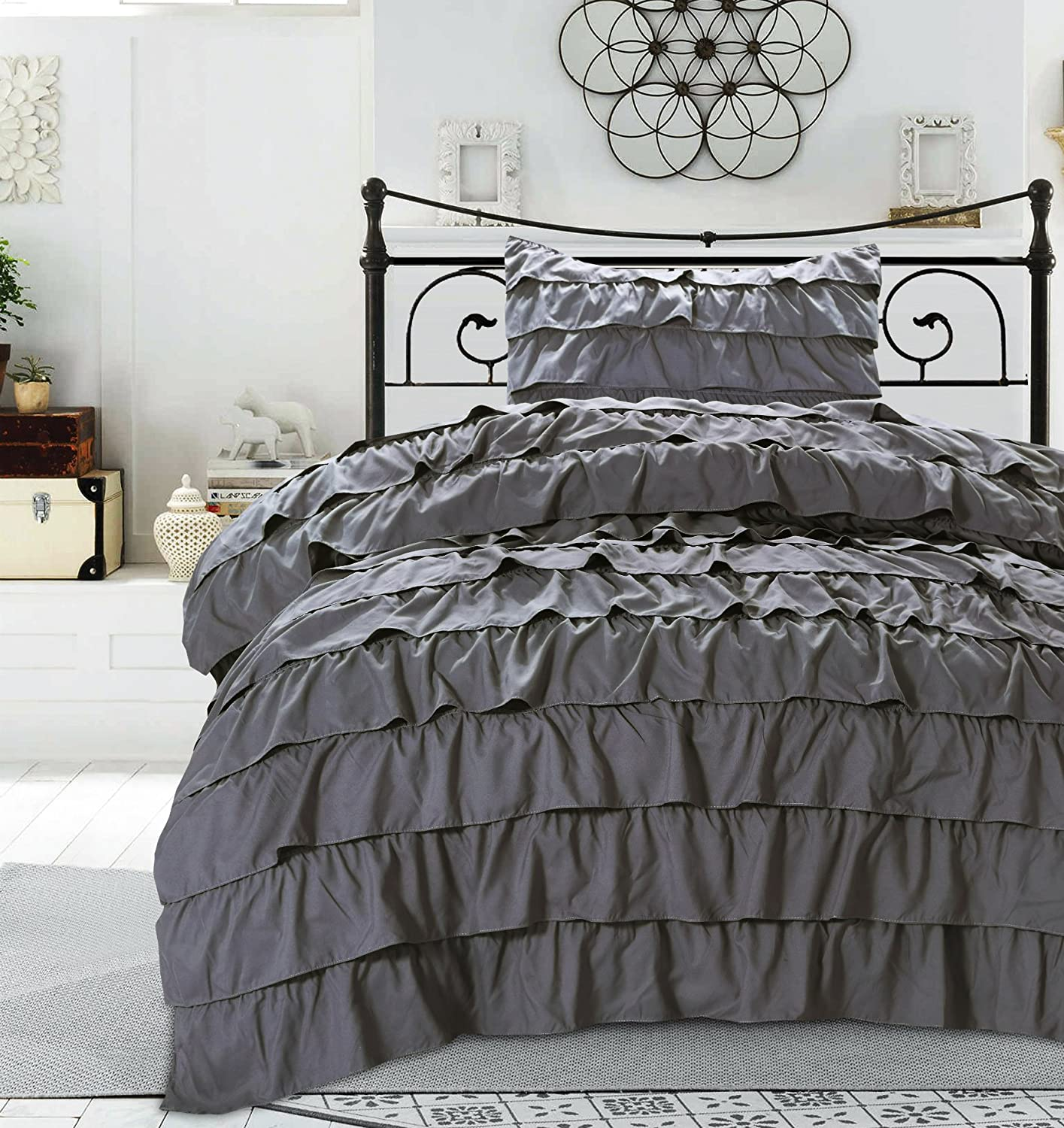 waterfall ruffled mahaveer ruffle solid gold duvet cotton cover