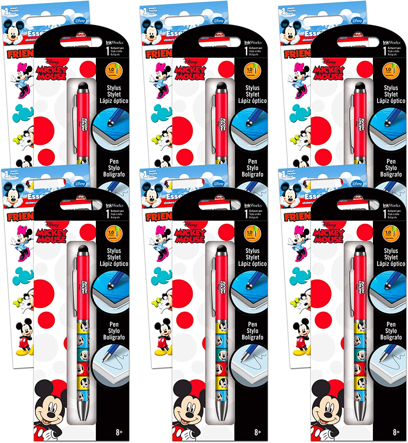 Disney Mickey Mouse Party Supplies Set - 12 Pack Mickey Mouse Pen Set with Mickey Mouse Stickers Disney Mickey Mouse Office Accessories (Mickey Mouse Office Supplies Office Decor)
