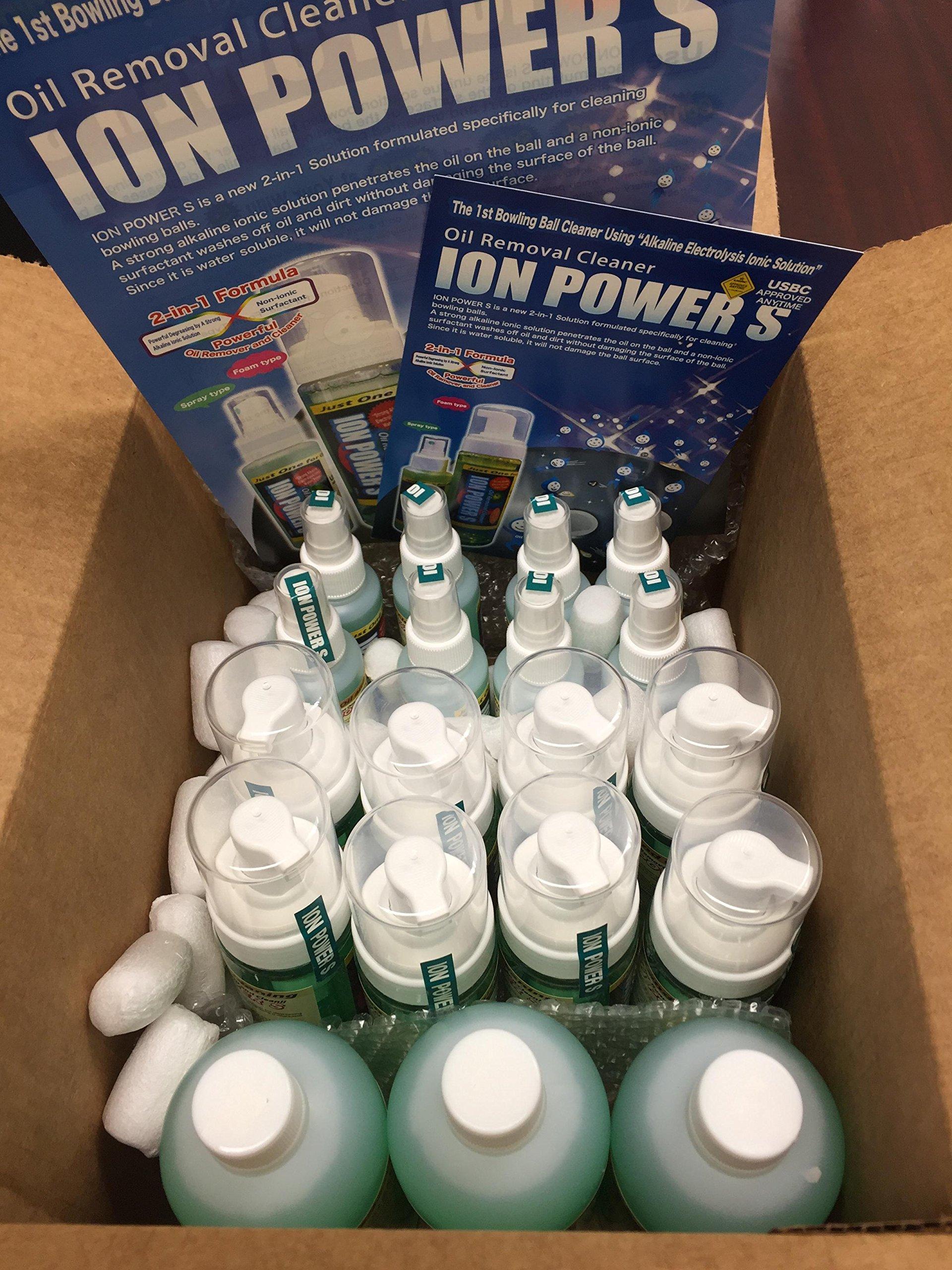 ION POWER S, Bowling Ball Cleaner, Set of Spray (100cc, 3.4 oz) + Refill (500cc, 17 oz)
