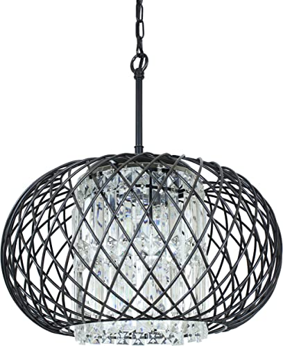 Edvivi 3-Lights Antique Black Round Drum Shade Crystal Chandelier Ceiling Fixture