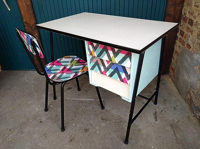 Bureau formica années 60 et sa chaise revisités géométrique mint