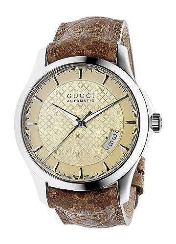 Gucci G Timeless - Reloj de automático para Hombre, con Correa de Cuero, Color marrón: Amazon.es: Relojes