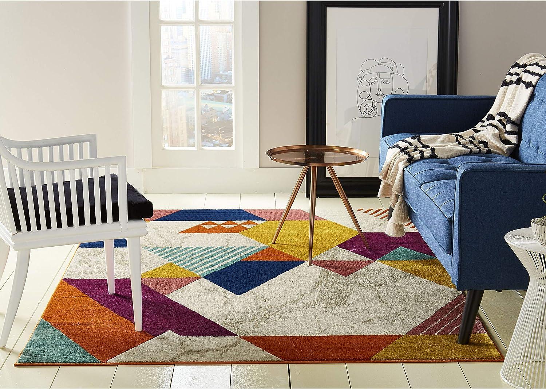 "Home Dynamix 9847-999 Trina Trina Turk Tanja Swayze Modern Area Rug 1'6""x2'6"", Geometric Ivory/Blue/Purple/Gold"