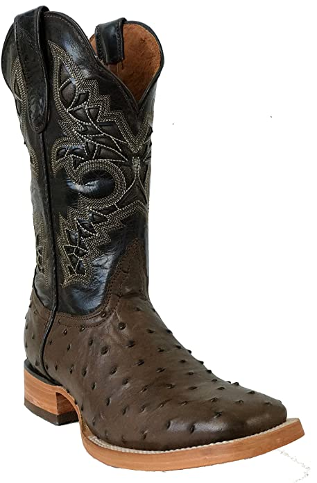 Hand Made Mens Crocodile Ostrich Quill Leather Cowboy Western J Toe Boots Black