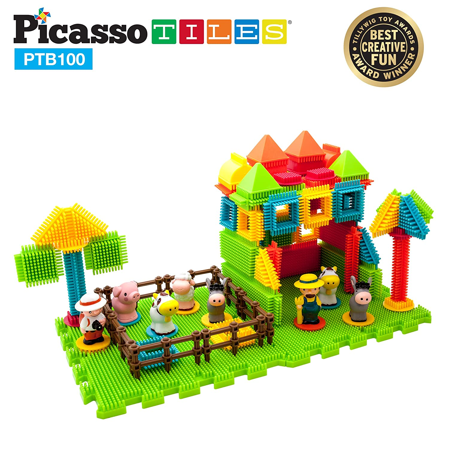 PicassoTiles PTB100 100pcs Bristle Shape 3D STEM Building Blocks Tiles Farm Theme Set Construction Learning Toy Stacking Educational Block, Creativity beyond Imagination, Recreational, Educational Review