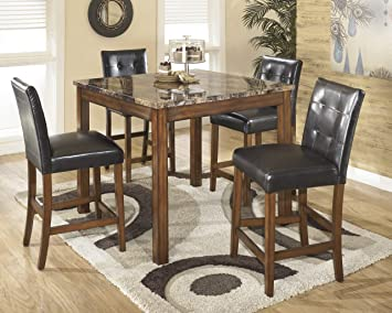 Theo 5 Piece Faux Marble Top Counter Height Dining Table With UPH Barstools