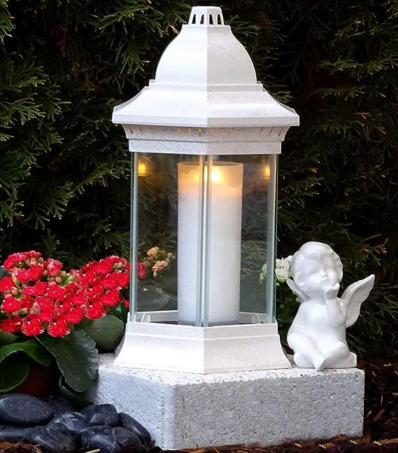 ? Grabschmuck Set Grablampe Weiss 30,0cm mit Sockel Engel und Grabkerze Grablaterne Grabschmuck Grableuchte Grablicht Laterne