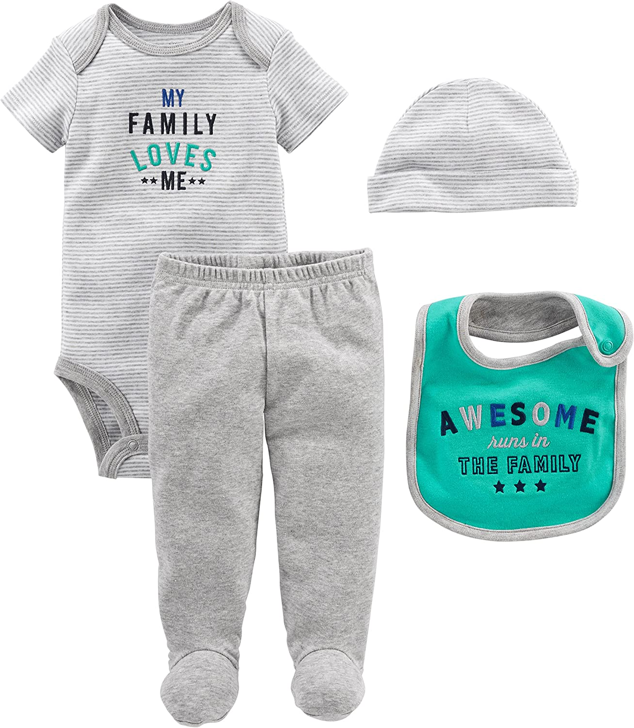 Simple Joys by Carter's Baby Boys' 4-Piece Bodysuit, Pant, Bib and Cap Set: Clothing