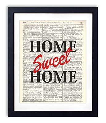 Home Sweet Home Typography Upcycled Vintage Dictionary Art Print 8x10
