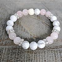 Rose Quartz Howlite Essential Oil Diffuser Bracelet, Women's Aromatherapy Bracelet, Anxiety Jewelry