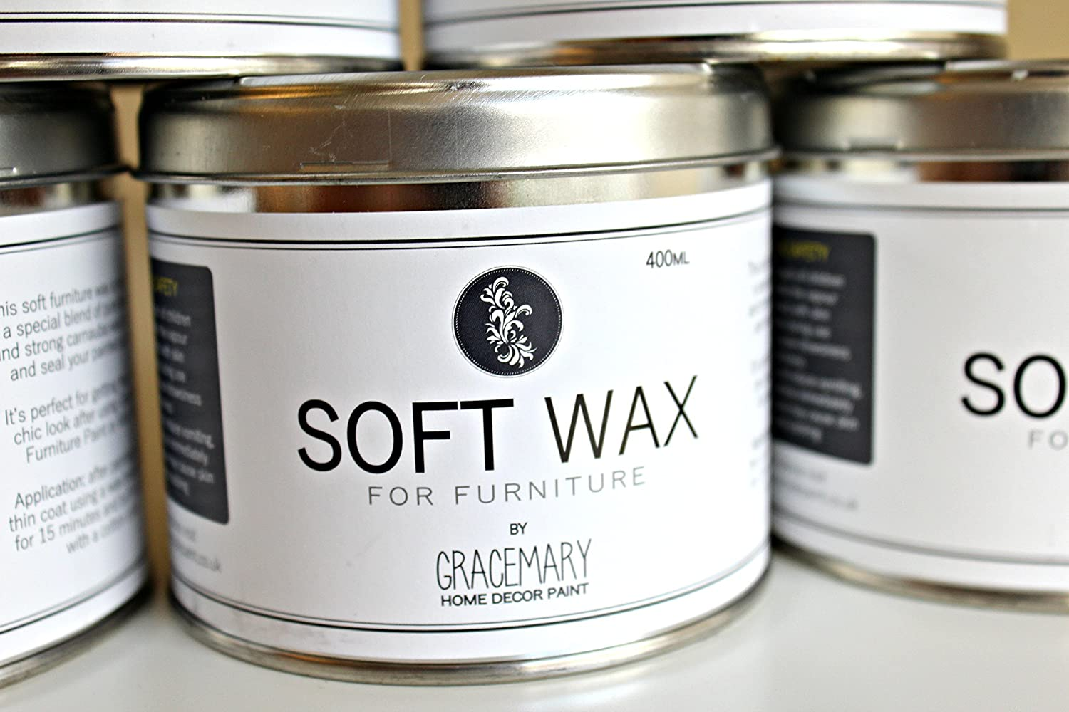GraceMary Soft Wax 400ml for waxing chalk paint & furniture - makes waxing easy! (Clear)
