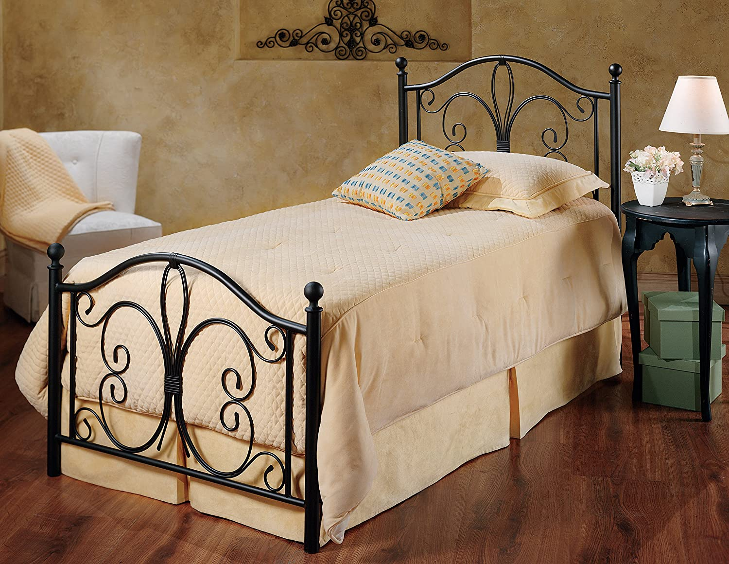 Antique iron bed rails - Amazon Com Hillsdale Furniture 1014bfr Milwaukee Bed Set With Rails Full Antique Brown Kitchen Dining