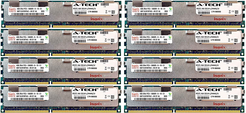 A-Tech Hynix 32GB Kit 8X 4GB PC3-10600 1.5V for HP ProLiant DL380 G7 DL380P G8 DL385P G8 DL560 G8 713985-B21 DL580 G7 DL585 G7 DL980 G7 ML330 G6 ML350E G8 ML350P G8 WS460c G8 BL460C G7 Memory RAM