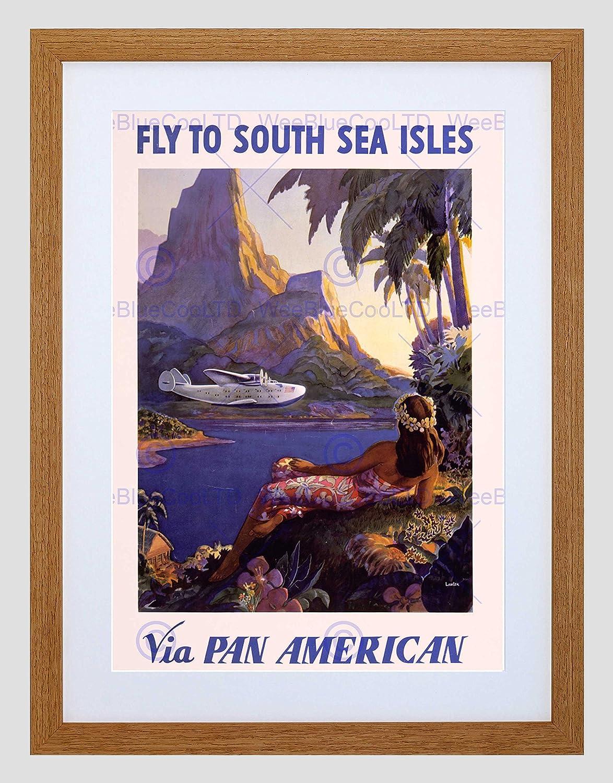 Wee Blue Coo Travel Tourism South SEA Islands Plane Tropic PAN AM Framed Art Print B12X11377