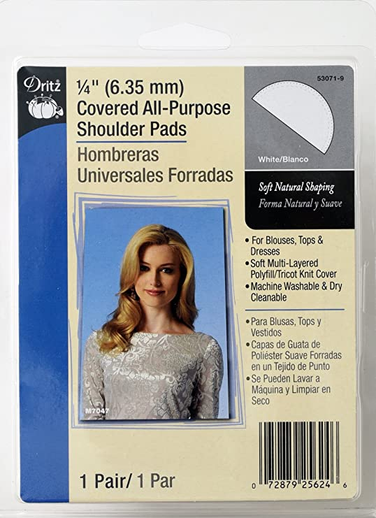 Amazon.com: Dritz 1/2 Covered All-Purpose Shoulder Pads-Black 2/Pkg: Arts, Crafts & Sewing