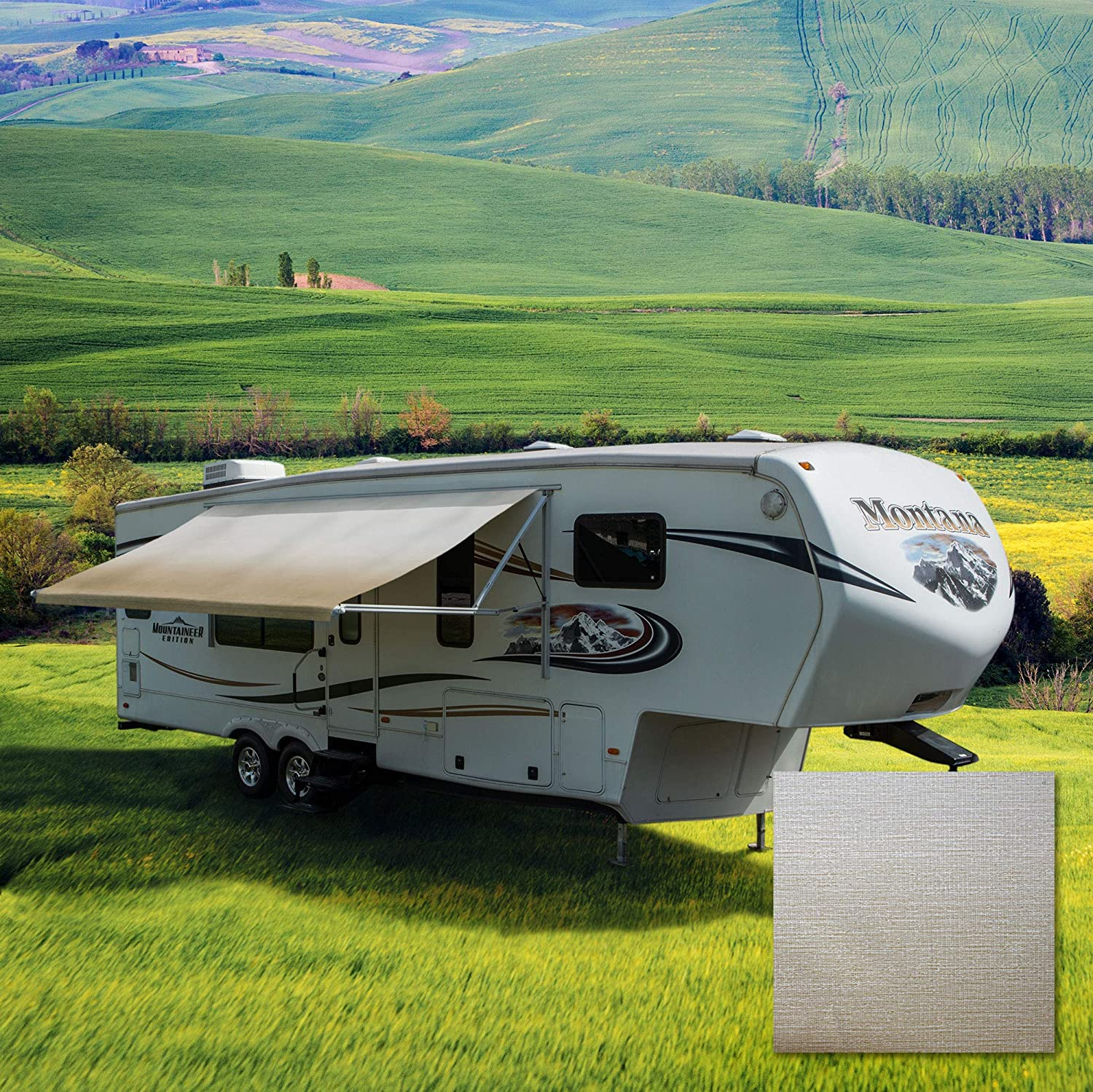 Tan//Camel Fade 17 Feet Width Standard Grade Vinyl RV Awning Fabric RV Awning Replacement Variety of Color Options