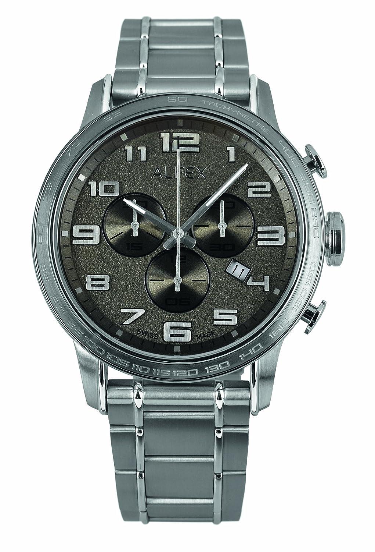 Alfex – 5672 _ 210 – Armbanduhr – Quarz Chronograph – Zifferblatt schwarz Armband Stahl Grau