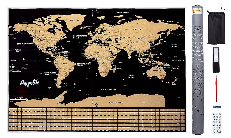 Mapa Mundi para Rascar - Scratch World Map - Póster Grande (82,00 x 59,00 cm) del Mundo Ideal para tus Viajes. Incluye Set con Pegatinas + Lupa + ...