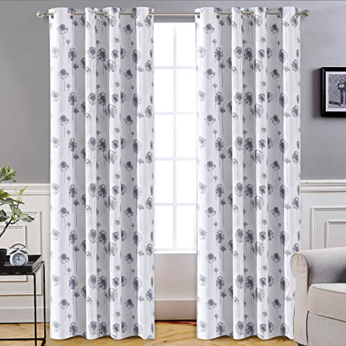 DriftAway Dandelion Floral Botanic Lined Thermal Insulated Blackout Room Darkening Grommet Energy Saving Window Curtains 2 Layers 2 Panels Each Size 52 Inch - the best window curtain panel for the money