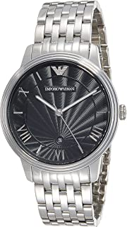 Emporio Armani Mens Quartz Watch with Stainless-Steel Strap, Silver, 20 (Model