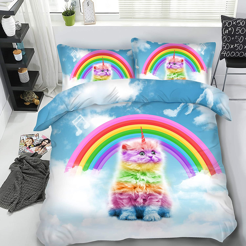 Royal Linen Source 3PCS Rainbow Magical Unicorn Cat Kids Caticorn Series 3D Animal Bedding Set Childrens bedlinen Twin Full Queen King Luxury Duvet Cover JF591, Full