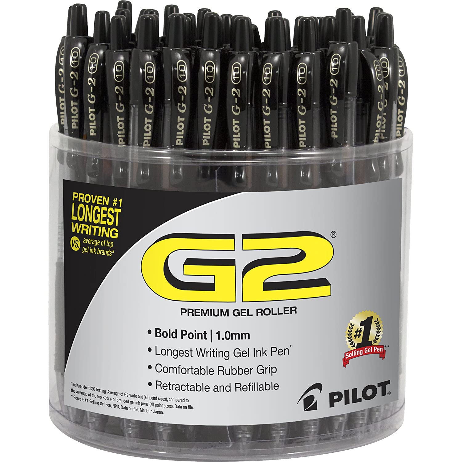 PILOT G2 Premium Refillable & Retractable Rolling Ball Gel Pens, Bold Point, Black Ink, Tub of 48 (5673A)
