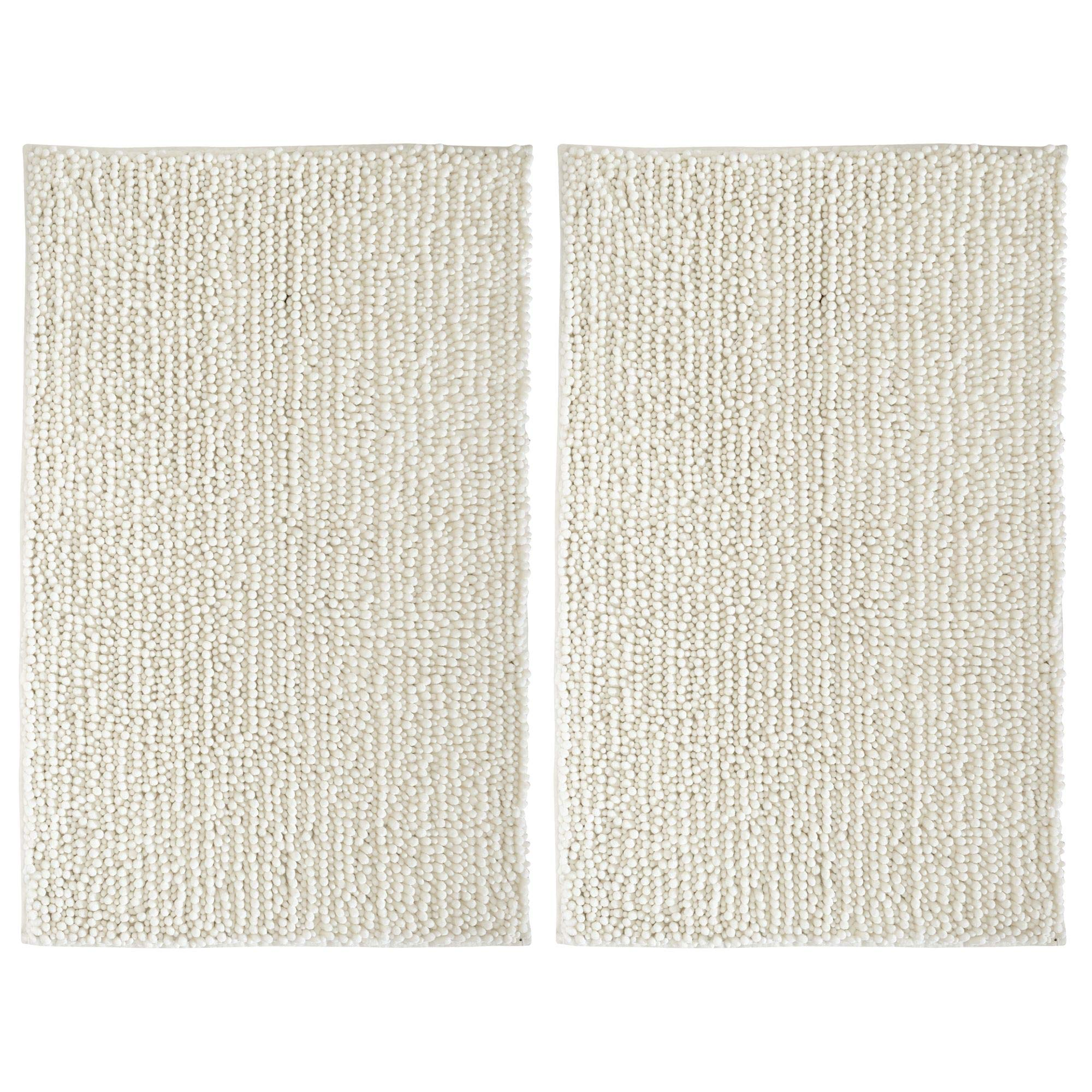 mDesign Soft Microfiber Polyester Non-Slip Rectangular Spa Mat, Plush Water Absorbent Accent Rug for Bathroom Vanity, Bathtub/Shower, Machine Washable - 30'' x 20'' - Pack of 2, Ivory