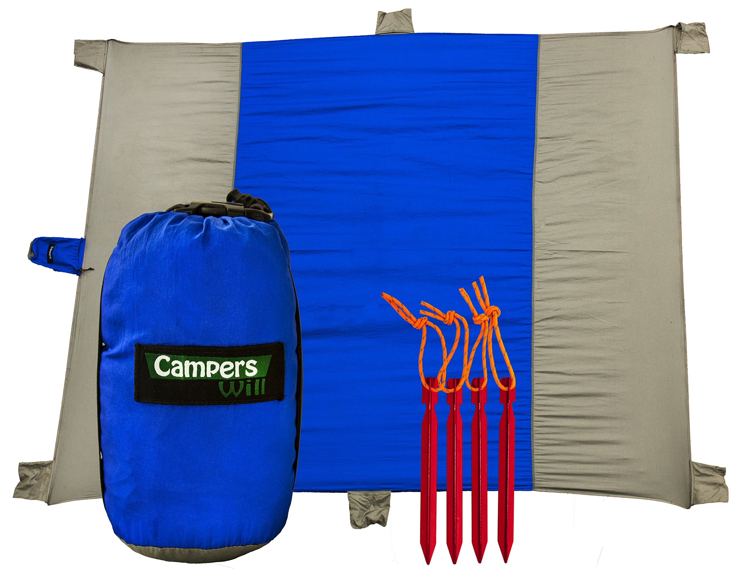 Compact Outdoor Camping Blanket and Beach Picnic Mat - Oversized 7 x 9 Ft, Quick Drying and Packable   Great Travel, Camp, Hike Blankets   Made of Premium Quality Nylon