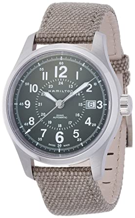 Hamilton H70595963 Khaki Field Automatic Mens Watch Green Dial