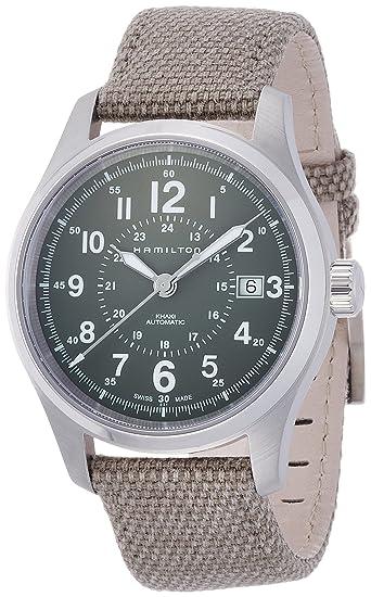 Hamilton Reloj Analogico para Hombre de Automático con Correa en Tela H70595963: Amazon.es: Relojes