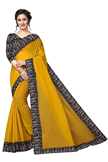 162a3a41899 Indira Designer Cotton with Blouse Piece Saree (RK Yellow Free Size):  Amazon.in: Clothing & Accessories
