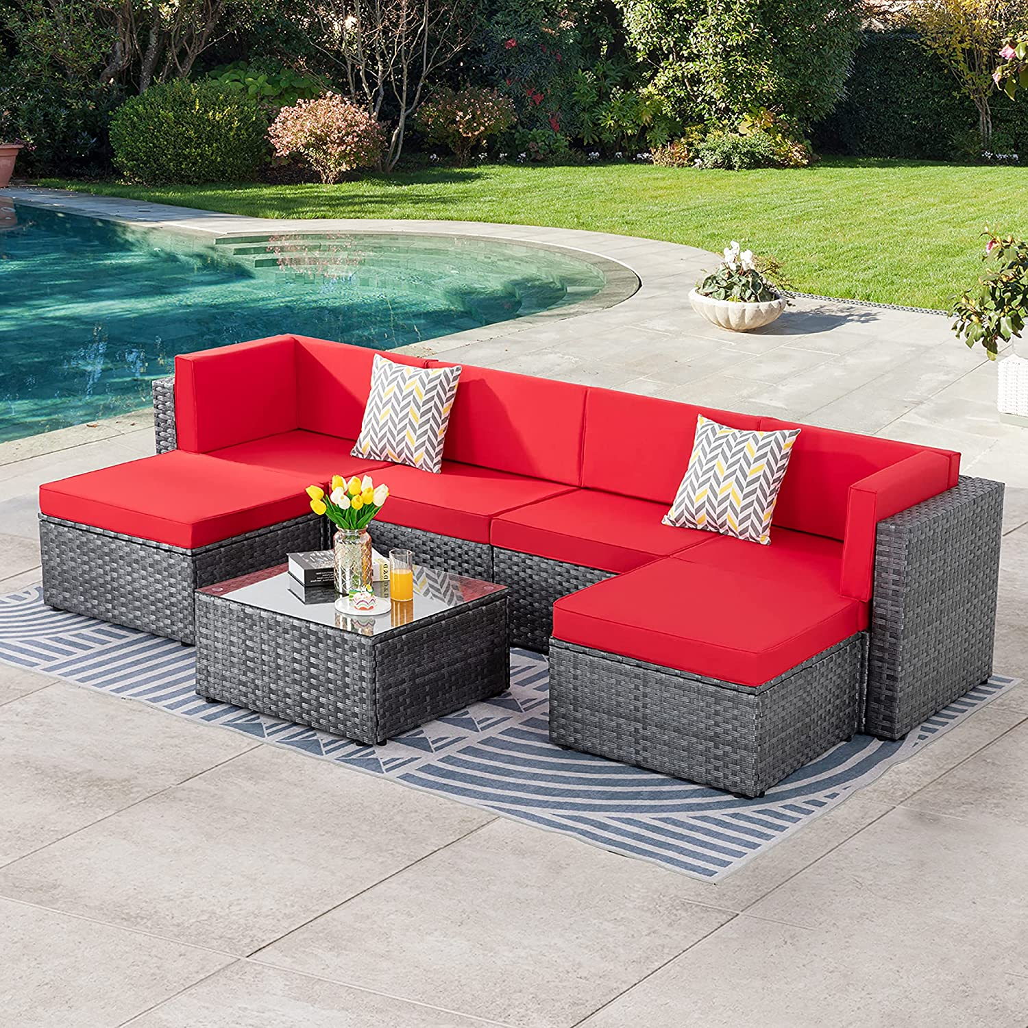 SUNLEI 7pcs Patio Outdoor Furniture Sets Conversation Set,Low Back All-Weather Rattan Sectional Sofa with Tea Table&Washable Couch Cushions&Ottoman(Silver Rattan)(Red)