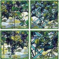 "CoasterStone AS9575""Louis Comfort Tiffany 彩色玻璃系列""吸水杯垫,10.16cm,4 只装"