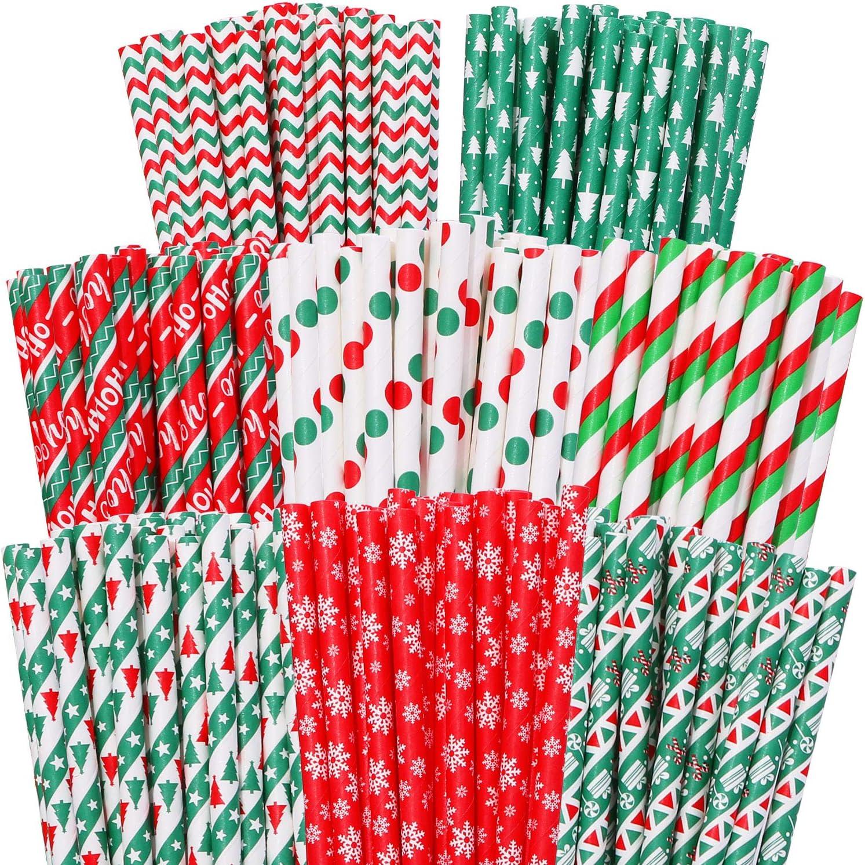 mezcla de pajitas para bodas y regalos de fiesta 8 estilos Red and Green 200 pajitas de papel de Navidad biodegradables con rayas bicolor y lunares