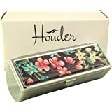 Houder Designer Lipstick Case with Mirror for Purse - Decorative Lipstick Holder with Gift Box - Velvet Lined - Protect Your Lipsticks in Style (Tropical Flowers)