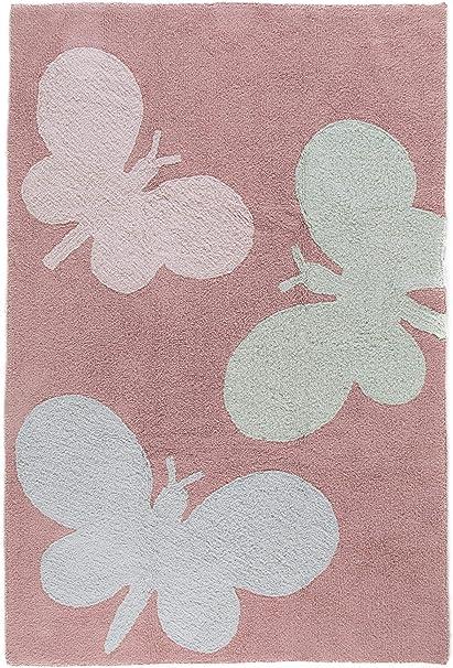 Benuta Alfombra Infantil (Bambini Butterflies   Alfombra para de Juego y habitación de los Niños, algodón, Rosa, 150x225 cm: Amazon.es: Hogar