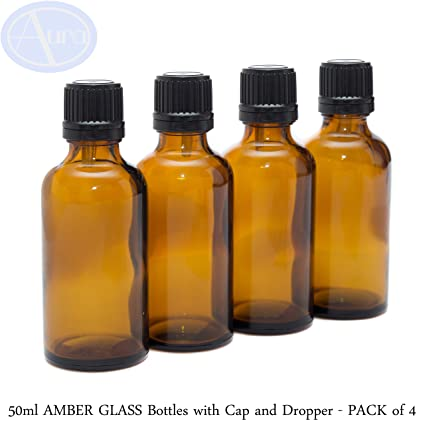 50 ml ámbar Botellas De Vidrio Con Tapones De Color Negro T/E & Crema