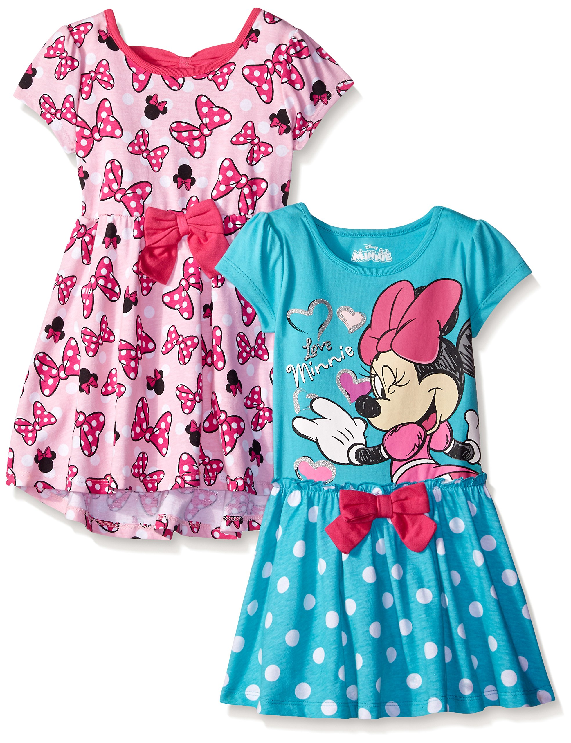 Disney Little Girls' 2 Pack Love Minnie Dresses, Pink, 6X